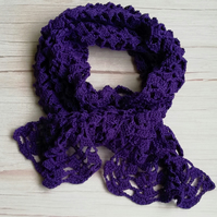 Rowan Pima Cotton Crochet Scarf in purple