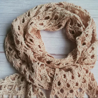 Rowan Pima Cotton Crochet Scarf in pale pink