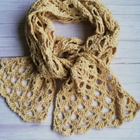 Rowan Pima Cotton Crochet Scarf in Sand