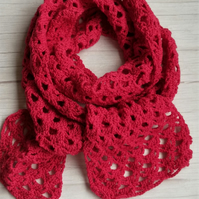 Jaeger merino wool, Crochet Scarf in Dark pink