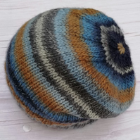 Hand knitted, Pure Wool, Banded Hat - 'By the Coast' Generous Fit