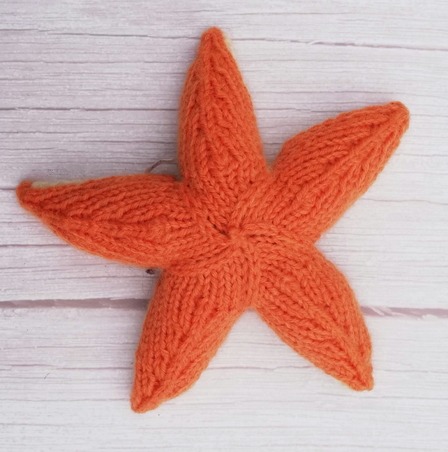 Hand Knitted Starfish - Orange