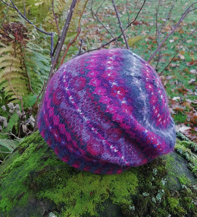Knitting Kit: Erin Hat, Wool Alpaca Slouchy Fair Isle Hat
