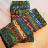 Knitting Kit: Winter Walk in the Woods  Fair Isle Fingerless Gloves
