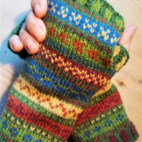 Knitting Pattern: Winter Walk in the Woods  Fair Isle Fingerless Gloves