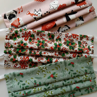 Set of Reusable Non-Surgical Christmas Print Face Masks