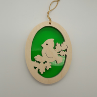 Christmas Tree Decoration or Sun Catcher in Wood and Acrylic (Bird on Branch)
