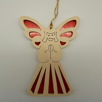 Christmas Tree Decoration or Sun Catcher in Wood and Acrylic (Angel)