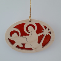 Christmas Tree Decoration or Sun Catcher in Wood and Acrylic (Mary & Crib)