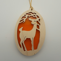 Deer Motif Christmas Tree Decoration or Sun Catcher in Wood and Acrylic