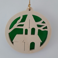 Christmas Tree Decoration or Sun Catcher in Wood and Acrylic (Church)