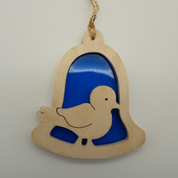 Bird in Bell Motif Christmas Tree Decoration in Wood and Acrylic
