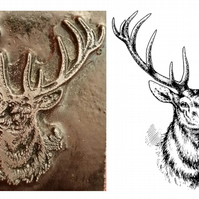 Stags head  printing stamp