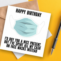 Birthday card: Face masks