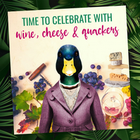 Duck congratulations card: Wine, cheese and quackers (Animalyser)