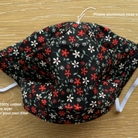 Washable 100% Cotton Face Covering 4 Layers Black Daisy. Filter pocket Ears