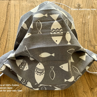 Washable 100% Cotton Face Covering 4 Layers Grey Fish. Filter pocket Ears
