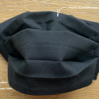Washable 100% Cotton Face Covering 4 Layers Black. Filter pocket Ears
