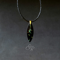 Bog Oak Surfboard Wood Necklace With Dark Mint Opal Stone Inlay