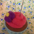 Hand Felted Cupcake Pin and Needle Cushion