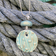 Wavy Pendant on Silver Twisted Bail and Chain Beach Sea Ceramic Present Gift