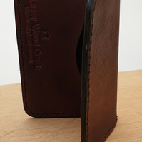 Handmade Brown Veg Tan Leather Folding Card Wallet With Black Cotton Lining