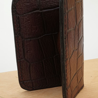 Handmade Dark Brown Reptile Pattern Veg Tan Leather Folding Card Wallet