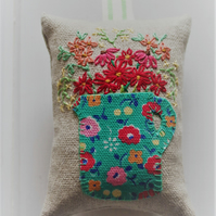 Lavender bag with green Cath Kidston jug design and hand-embroidered flowers