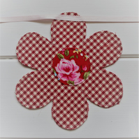 Red gingham floral garland bunting