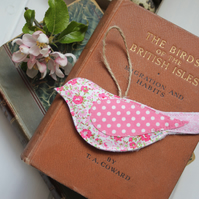 Recycled fabric bird trio in shades of pink