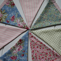 Summery bunting - 3 metres in floral, polka dot and stripy cotton fabrics