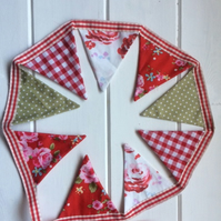 Festive dresser or shelfie bunting in reds and creams