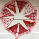 Pink and red floral dresser or 'shelfie' bunting