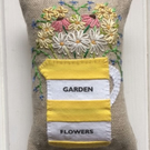 Sample Garden Flowers yellow and white stripy lavender bag with hand embroidery