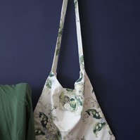 Cross-body messenger style bag made from vintage Laura Ashley Winter Lily fabric