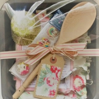Children's baking set with Cath Kidston floral apron and assorted utensils