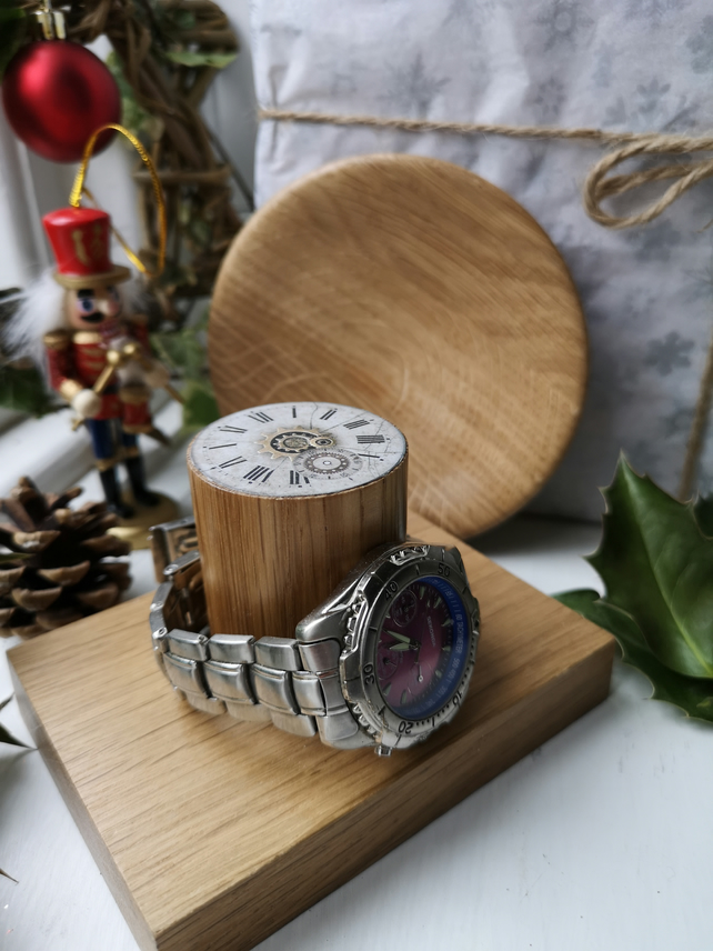 Wooden Watch Stand and Change Tray Gift Set