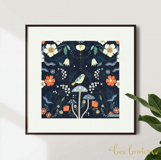 'Bird & Three Mushrooms' - Art Print