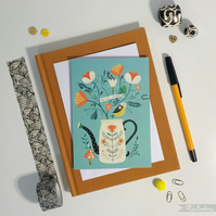 'Folky Can & Bird' - Greetings Card