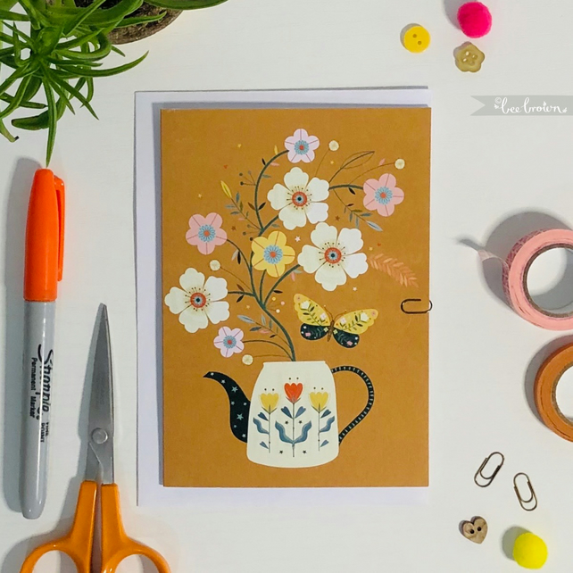 'Butterfly & Blooms' - Greetings Card