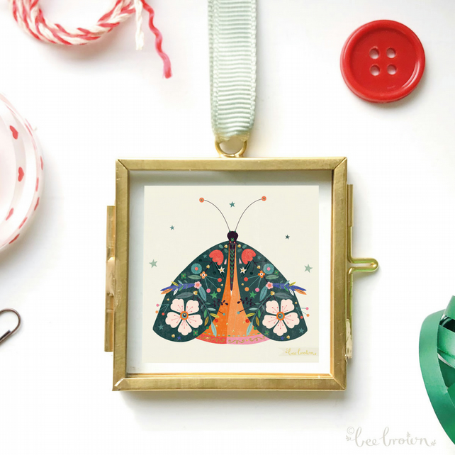 Miniature Decorative Moth in Frame