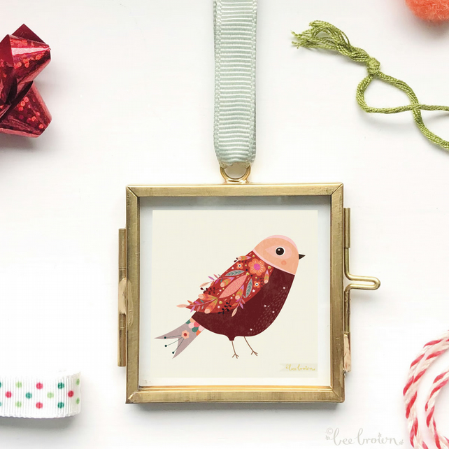 Miniature Feathered Bird Print in Frame