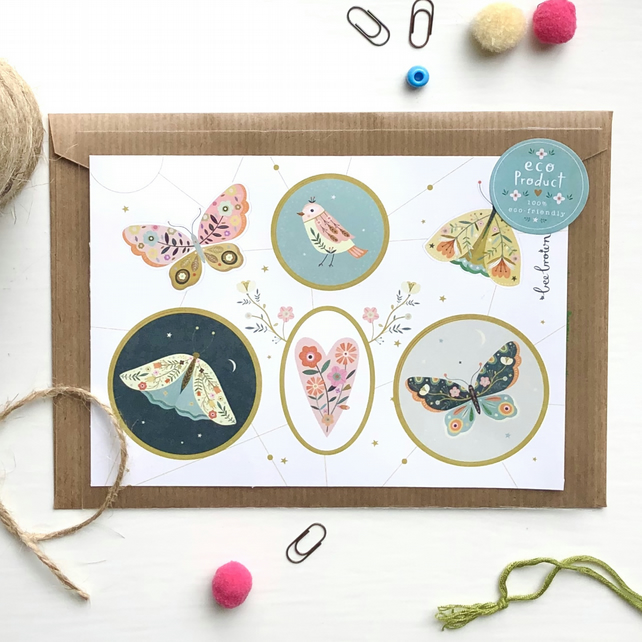 Decorative Bird & Insects Sticker Sheet