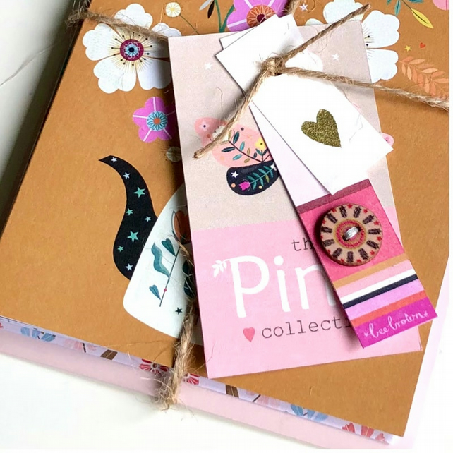 The Pink Collection - 5 hand-tied eco greetings cards