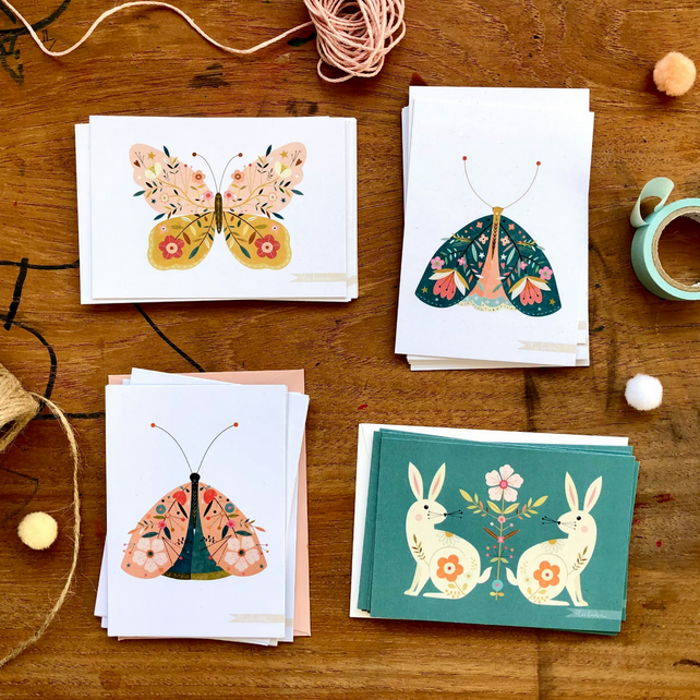 'Spring Creatures' - postcards with envelopes set