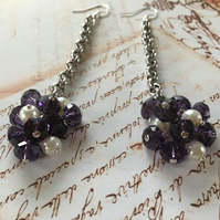 Purple bunch earrings