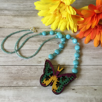 Wooden butterfly charming necklace