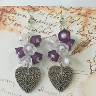 Flowers on a heart earrings