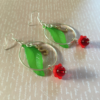 Personalised hooped flower earrings