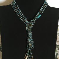 Beautiful all shades for blue lariat necklace.